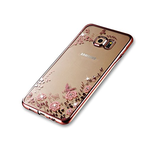 Bling Bling Strass Case (Samsung Galaxy S6 Edge TPU Silikon Handy Hülle Schutzhülle,Funyye Bling Glitzer Sparkles Strass Diamond Crystal [Pinke Blume] Clear Case für Samsung Galaxy S6 Edge,(Rose Gold) Electroplate Plating Frame Scratch-Resistant Bumper Soft Rückseite Cover Tasche für Samsung Galaxy S6 Edge + 1 x Frei Displayschutzfolie)