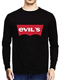 Baklol.in Men's Round Neck Full Sleeves Printed Funny T-Shirt(Evil's), Black