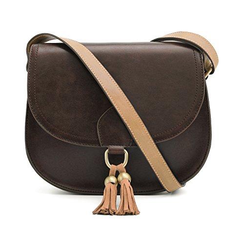 ECOSUSI Kleine Umhängetasche Damen Citytasche Schultertasche mit Verstellbarem Schultergurt (Kunstleder Cross)