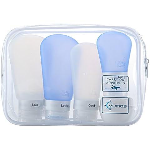 Set da viaggio Vumos con flaconi in silicone a prova di perdite e contenitore per crema in una pochette in etilene vinil acetato (EVA) di alta qualità TSA approved