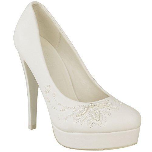 Femmes Mariage Talon Haut Chaussures Blanches Talon Aiguille Semelle Compensée Bal Taille