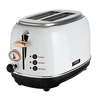 Tower Bottega T20016W 2 Slice Toaster, Stainless Steel, 810 W, White and Rose Gold