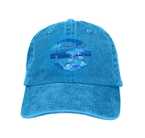 Xunulyn Unisex Adjustable Mesh Caps Snapback Hat Beautiful Landscape Lighted Fountain Dolphins Evening Luminous Waterfront Colored - Single Dolphin Fountain