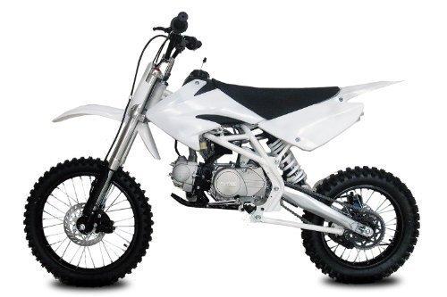 Dirtbike Thunder 125cc 17/14-4-Gang-Manuell-Kickstarter Crossbike Pitbike (Weiss)