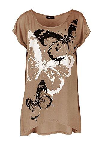 Damen Strass Glitzer Stecker Schmetterling Bedruckt Kurzärmlig Übergroßer Baggy-stil Hoch Niedrig Kleid Top Kamelfarben