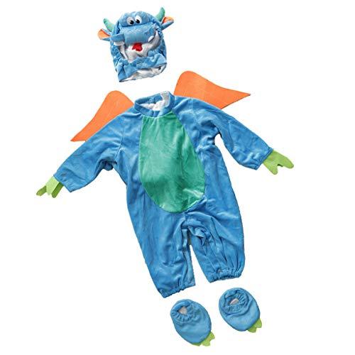 IPOTCH baby Strampler, Baby Mädchen Junge Spielanzug Flanell Baumwolle Winter Overall Tier Kostüme Hooded Bekleidung Outfits - Dinosaurier, 12-18 Monate
