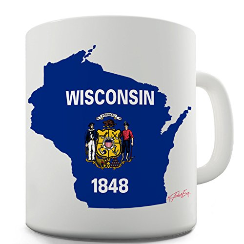 Twisted Envy Wisconsin State Map USA Flaggen Symbol Funny Büro Secret Santa Geschenk, keramik, weiß, 15 OZ - Personalisierte State Map