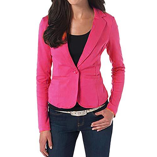OverDose Damen Winter Elegante Art-Frauen-Büro-Geschäfts-Dame Formal Coat Blazer-Klage-Lange Hülsen-Oberseiten dünne Jacken-Knopf Outwear öffnen Jacken-Klage-Jacke(Hot pink,EU-38/CN-XL ()