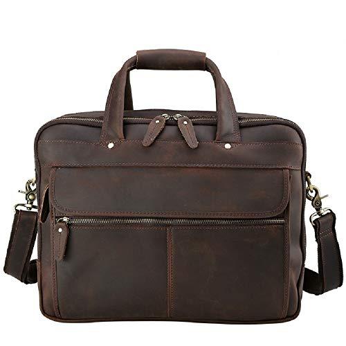 Preisvergleich Produktbild WFF Crazy Horse Lederhandtasche, mehrschichtige 16-Zoll-Computertasche, First-Layer-Business-Aktentasche aus Leder für Herren,1,cm