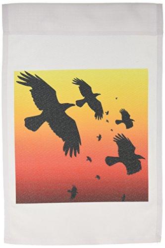3dRose FL_78713_1 Rabe auf rotem Himmel Tiervögel Krähe Halloween Mythologische Mythologie Rabe Garten Fahne 30,5 x 45,7 cm