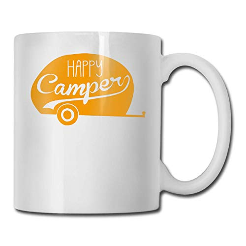 Daawqee Becher Coffee Mug Happy Camper Mug Funny Ceramic Cup for Coffee and Tea with Handle, White - Camper Happy Becher