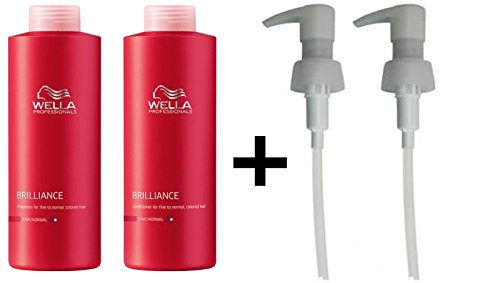WELLA PROFESSIONAL BRILLIANCE SHAMPOO FINE 1000ML AND CONDITIONER 1000ML + PUMPS