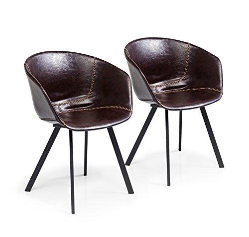 Kare Design Esszimmerstuhl Lounge 2er Set, moderner Stuhl mit Armlehne und beigen Nähten, Dunkelbraun (H/B/T) 77x59,5x53,5cm