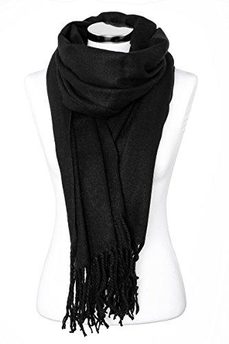 Strickschal mit Fransen einfarbig lang XXL Wollschal Oversized Winterschal Herren Damen Unisex Neverless® schwarz