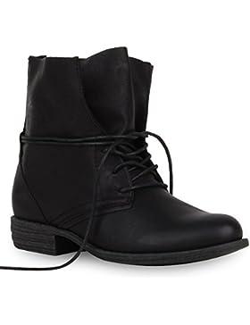 Damen Stiefeletten Worker Boots Leder-Optik Schnürstiefeletten Stiefel Camouflage Booties Blockabsatz Spitze Gr...