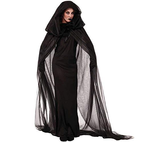 Sexy Gespenstische Braut Kostüm - GLXQIJ Damen Böse Hexe Vampir Gespenstische Braut Halloween Märchen Kostüm, Mit Kapuze Mantel,Black,S