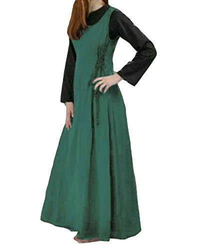 nfarbig Sommerkleid Tank Kleid Ausgestelltes Mittelalter Kleid Cosplay Trägerkleid Cocktailkleid Grün M (Günstige Mittelalter Kleid)