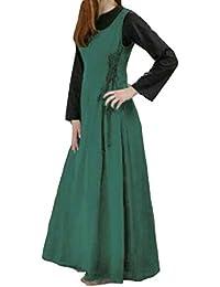 Damen Ärmelloses Einfarbig Sommerkleid Tank Kleid Ausgestelltes Mittelalter Kleid Cosplay Trägerkleid Cocktailkleid
