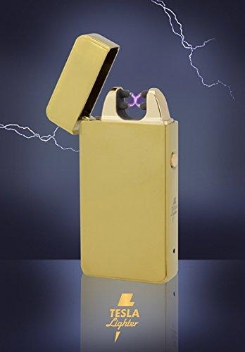 Tesla-Lighter T11 | Lichtbogen Feuerzeug, Plasma Double-Arc, elektronisch wiederaufladbar, aufladbar mit Strom per USB, ohne Gas und Benzin, mit Ladekabel, in edler Geschenkverpackung, Gold