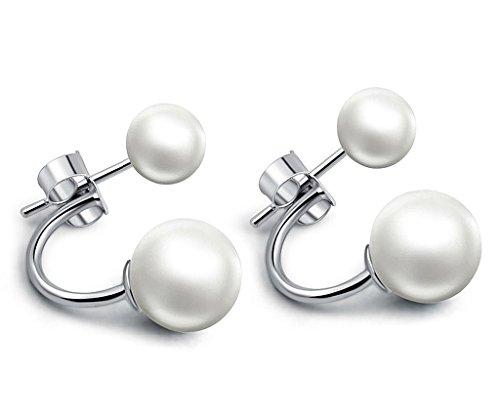 Infinite U 925 Argent Double Perles 9mm Femmes Clous/Boucles d'oreilles Multiple Type de Port