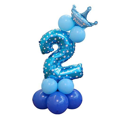 Doitsa Folienballon Zahlenballon Latexballon Blau Riesenzahl Luftballon Baby Dusche Party Kindergeburtstag Deko - Nummer 2
