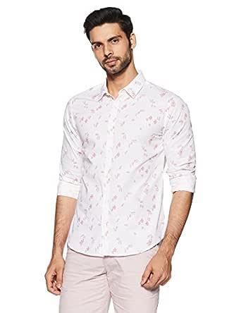 United Colors of Benetton Men's Printed Slim Fit Casual Shirt (18P5EC82U008I_White_L)