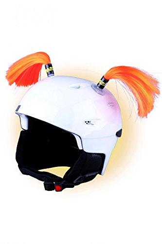 Crazy Ears Helm-Accessoires Zöpfe. Ski-Ohren geeignet für Skihelm Motorradhelm Fahrradhelm und vieles mehr. Helm Dekoration für Kinder und Erwachsene, CrazyEars:Zöpfe Orange