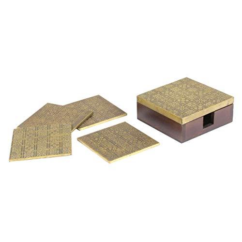 Oriental Galerie Untersetzer für Getränke Tee Kaffee Tischset Deko Set Dekoration Glasuntersetzer Gold Messing Indien Box TUG-016