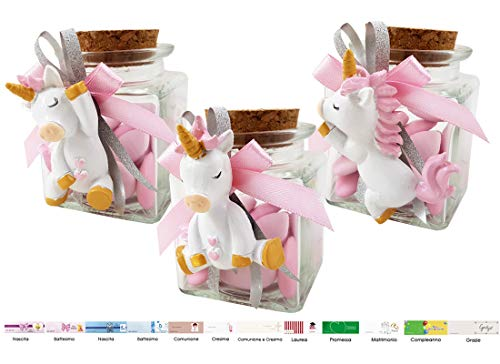 Irpot kit 12 bomboniera unicorno rosa kbc200r modelli assortiti (barattolo vetro bt60x60)