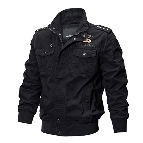 KEFITEVD Herren Jacke Vintage Bomberjacke Stehkragen Winddichte Jacke Multi-Taschen Militärische Taktische Jacke Schwarz