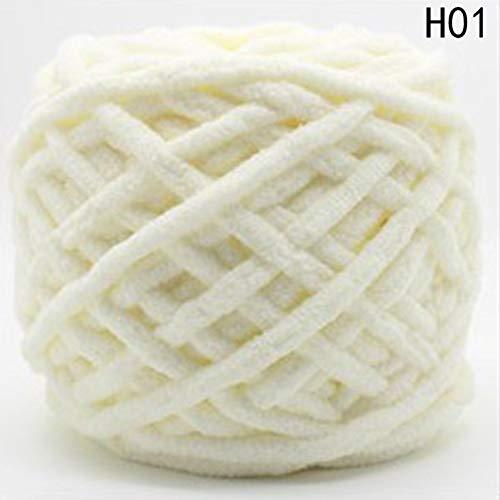 FUdeza Kostengünstig weiches Dickes Garn DIY Schal, Pullover, Handtuch, Socken, Hüte, Stricken, grob Frottee Garn Ball für Heimdekoration - milchweiß -