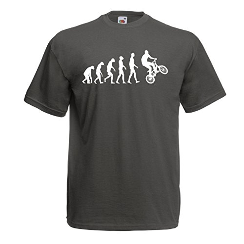 Männer T-Shirt Human Evolution and Bike - Bicycling – Bicycle accessories, cycling apparel Graphit Mehrfarben