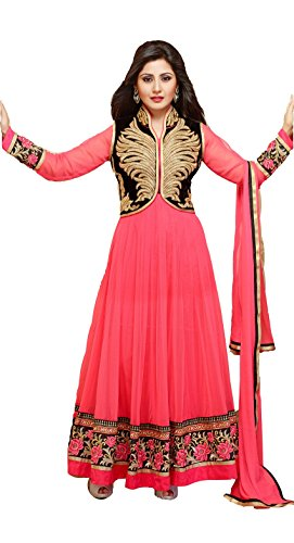 Clickedia Women's Faux Georgette Embroidered Pink Anarkali Salwar Suit Dress Material (Pink_Free Size)  available at amazon for Rs.599