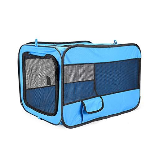 QQBL Auto Haustier Käfig Oxford Tuch Falten Haustier Zaun Aufbewahrungstasche,Blue,M -