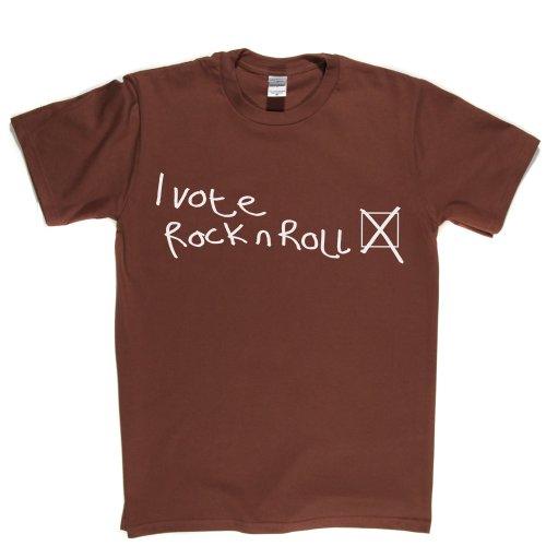 I Vote Rock n Roll Music Fan T-shirt Braun