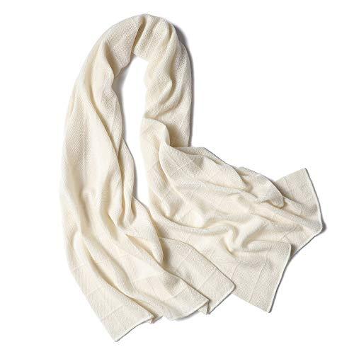Easy Go Shopping New Damen Schal White Knit Plaid Hollow Warm Schal Wrap Schal (Farbe : Weiß, Größe : Einheitsgröße) - White Plaid Schal