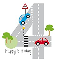 Cars Birthday Card for boy, Age 4