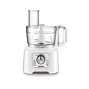 Tefal DO544140 DoubleForce Compact Plus Multifunction Food Processor, 800 Watt, White & Silver