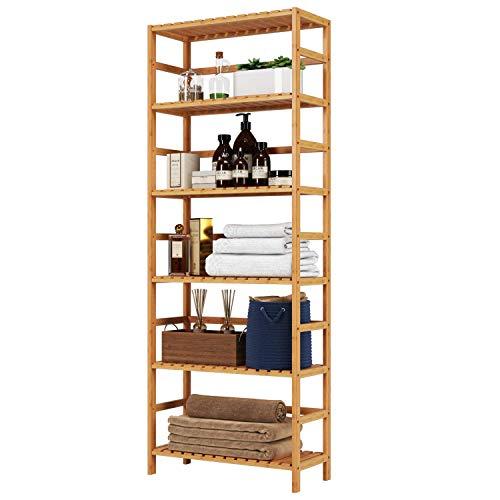 Homfa Badregal Standregal Küchenregal Bücherregal Pflanzenregal Aufbewahrung Bambus fürs Badzimmer Küche Wohnzimmer mit 6 Ablagen Bodenhöhe verstellbar 60 x 26 x 161 cm