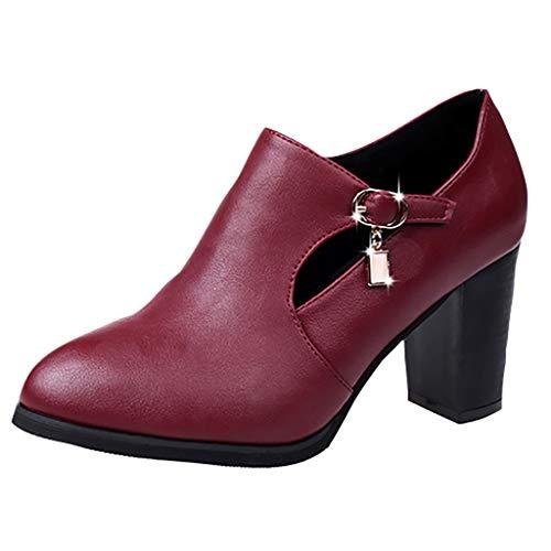 Damen Stiefel FGHYH Frauen solide reißverschluss Platz Ferse spitz Partei Schuhe Stiefel(37, Wein)