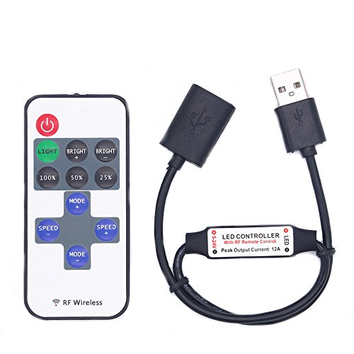 Streifen-taste Abdeckungen (MASUNN DC5-24V 11 Tasten Mini USB Rf Wireless Dimmer Fernbedienungs-LED-Controller Für Einzelne Farbstreifen)