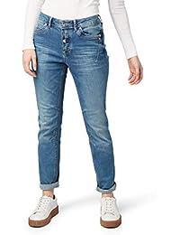 b8f28389c76d7 TOM TAILOR Denim Damen Slim Jeans Fit Lynn, Tiefer Sitz, Gewaschen, Blau (
