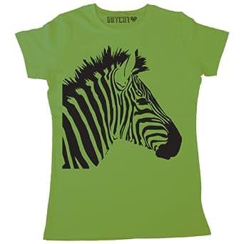 Batch1 Women's Zebra Print Animal Fashion Print T-Shirt, Green - S
