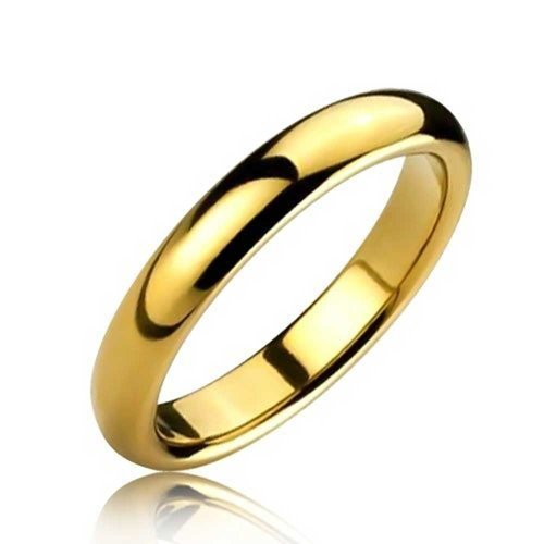 Bling Jewelry Cúpula Delgada Banda Boda Parejas Pulido Chapado En Oro De 14K Anillo De Tungsteno para Hombres Y para Mujer De 4 mm Y