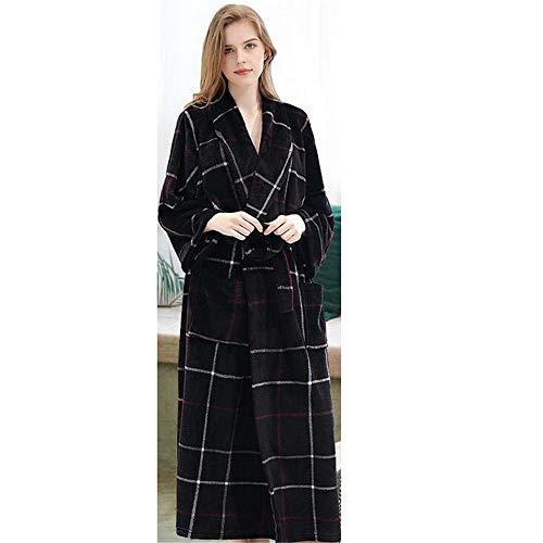 ZSDGY Flanell Robe/Couple Plus Fertilizer zur Erhöhung der Pyjamas/Female Coral Cashmere Men's Verdickung Robe E-2XL -
