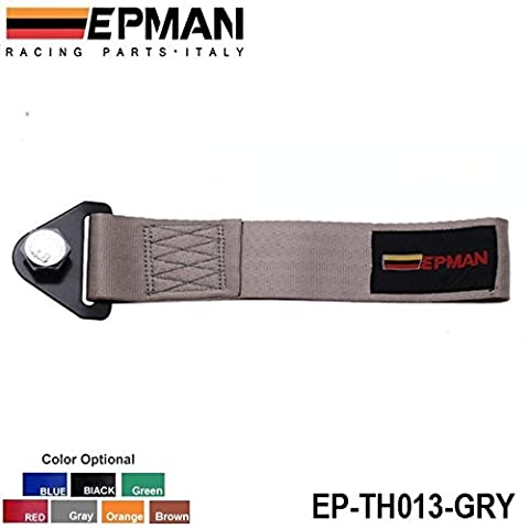 EPMAN - Gray HIGH STRENGTH RACING TOW STRAP SET FOR FRONT/REAR BUMPER HOOK TRUCK/SUV EP-TH013-GRY