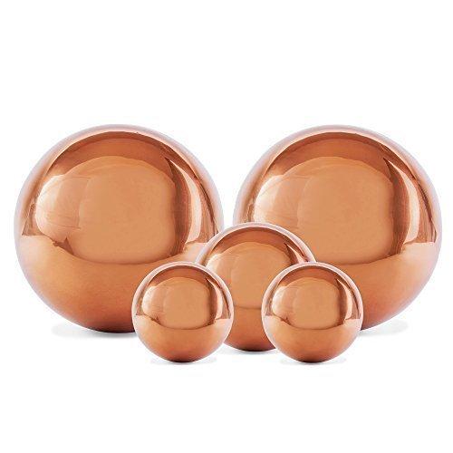 Cinq Sphères Décoratives en Acier Inoxydable Cuivré 2.5-5cm