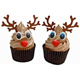 Set to decorate 6 Christmas Rudolf Cupcakes, including 6 chocolate noses, 6 pairs of eyes and 6 pairs of antlers
