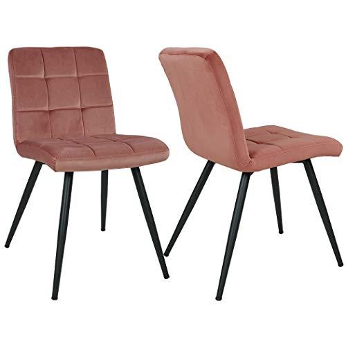 Duhome 2er Set Esszimmerstuhl aus Stoff Samt Rosa Pink Farbauswahl Stuhl Retro Design Polsterstuhl mit Rückenlehne Metallbeine 8043B