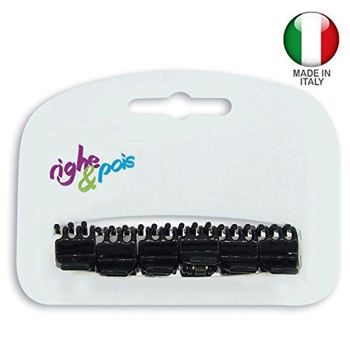 T014 – 001 – Set de 6 mini pinces pour cheveux PVC cm 1 Couleur Noir – Made in Italy – Cheveux